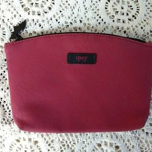 Ipsy Pink Lace Look Zipper Bag w Bat Zip Pull Cute